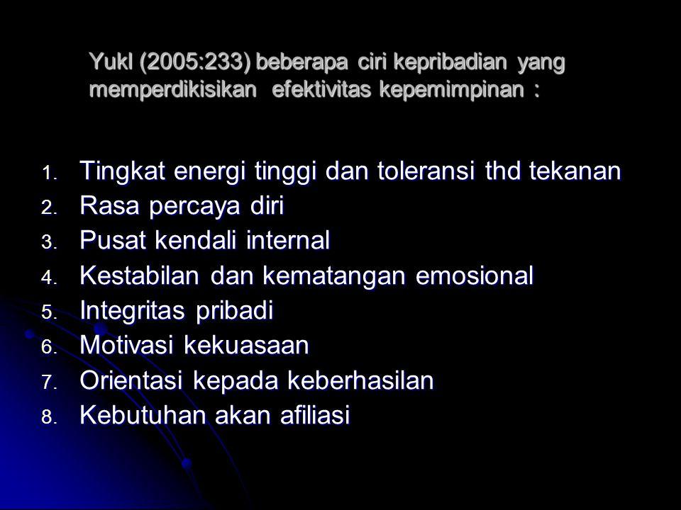 Tingkat energi tinggi dan toleransi thd tekanan Rasa percaya diri