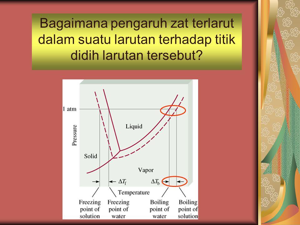 Bagaimana pengaruh zat terlarut dalam suatu larutan terhadap titik didih larutan tersebut