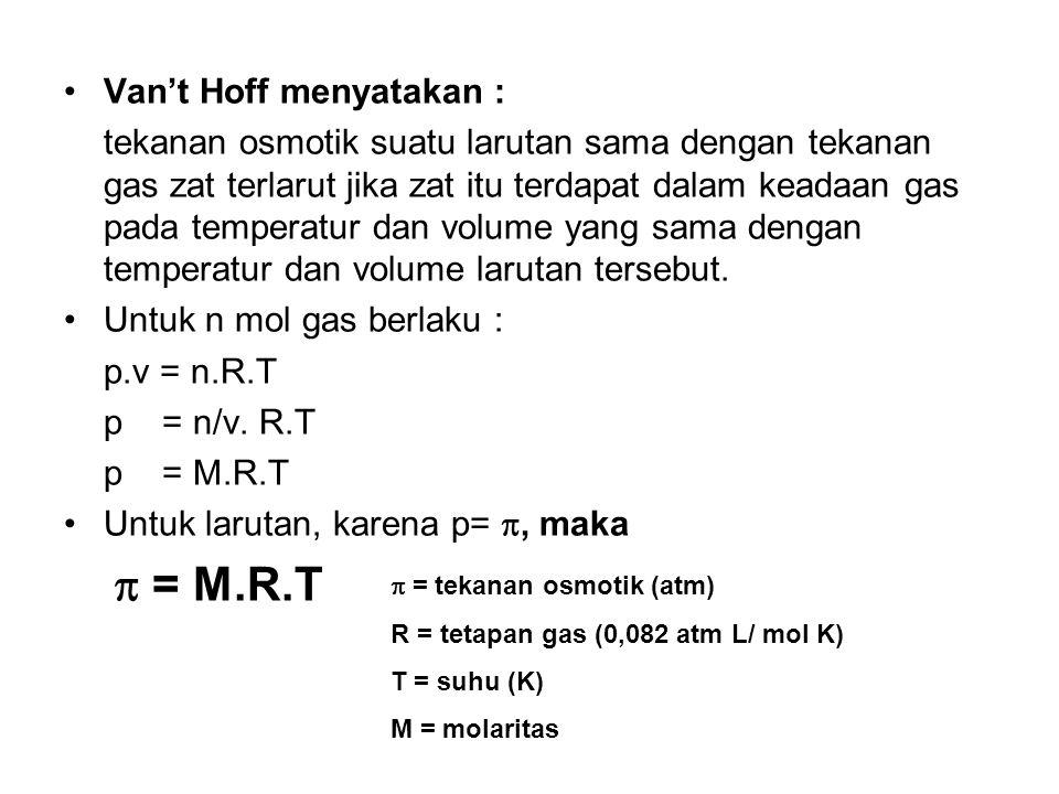 Van't Hoff menyatakan :