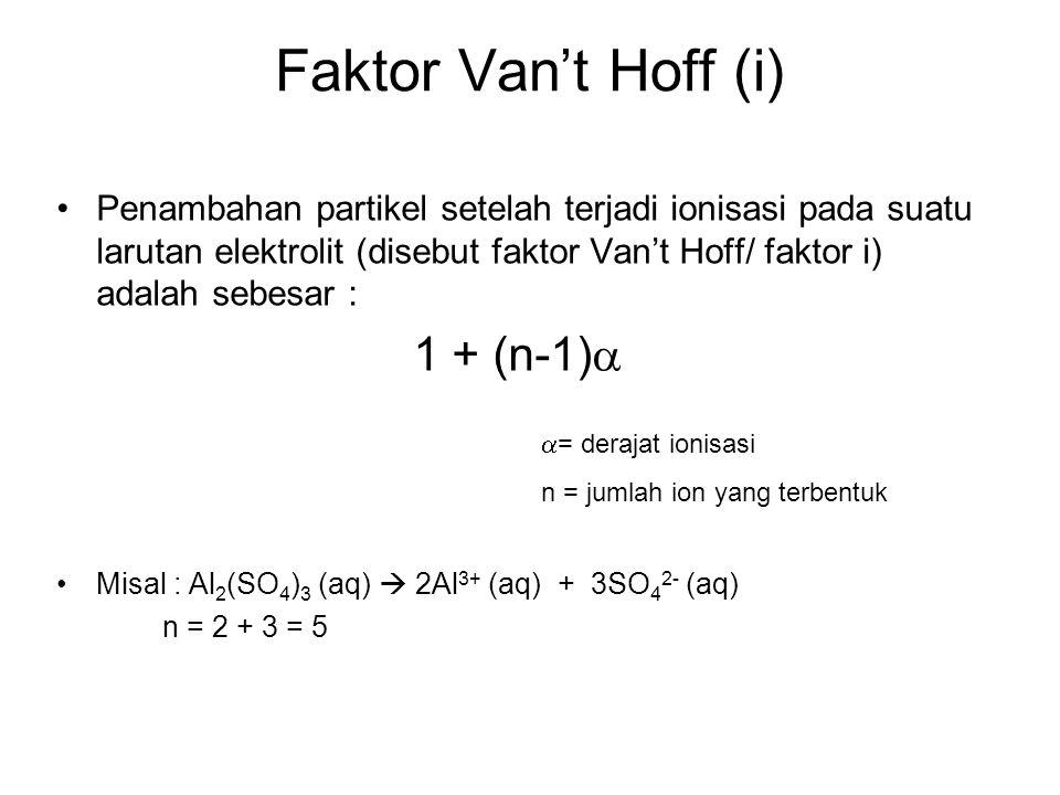 Faktor Van't Hoff (i) 1 + (n-1)