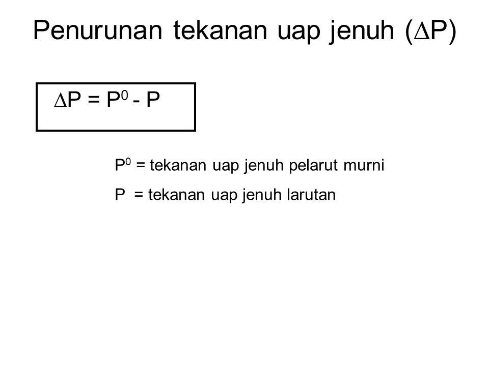 Penurunan tekanan uap jenuh (P)