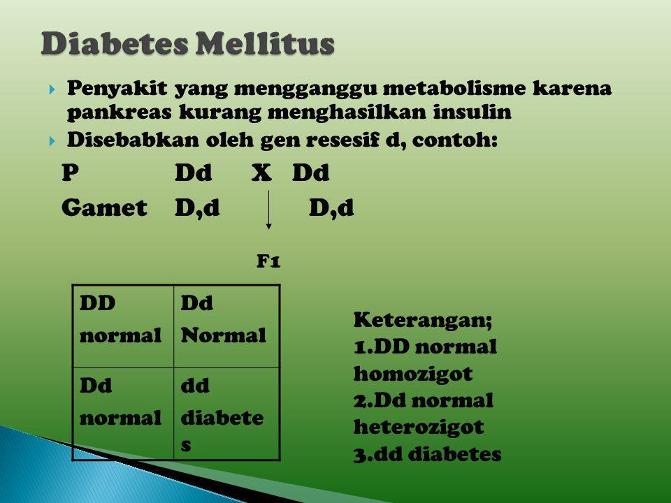 Diabetes Mellitus P Dd X Dd Gamet D,d D,d