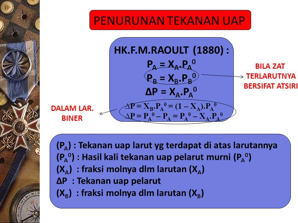 PENURUNAN TEKANAN UAP HK.F.M.RAOULT (1880) : PA = XA.PA0 PB = XB.PB0