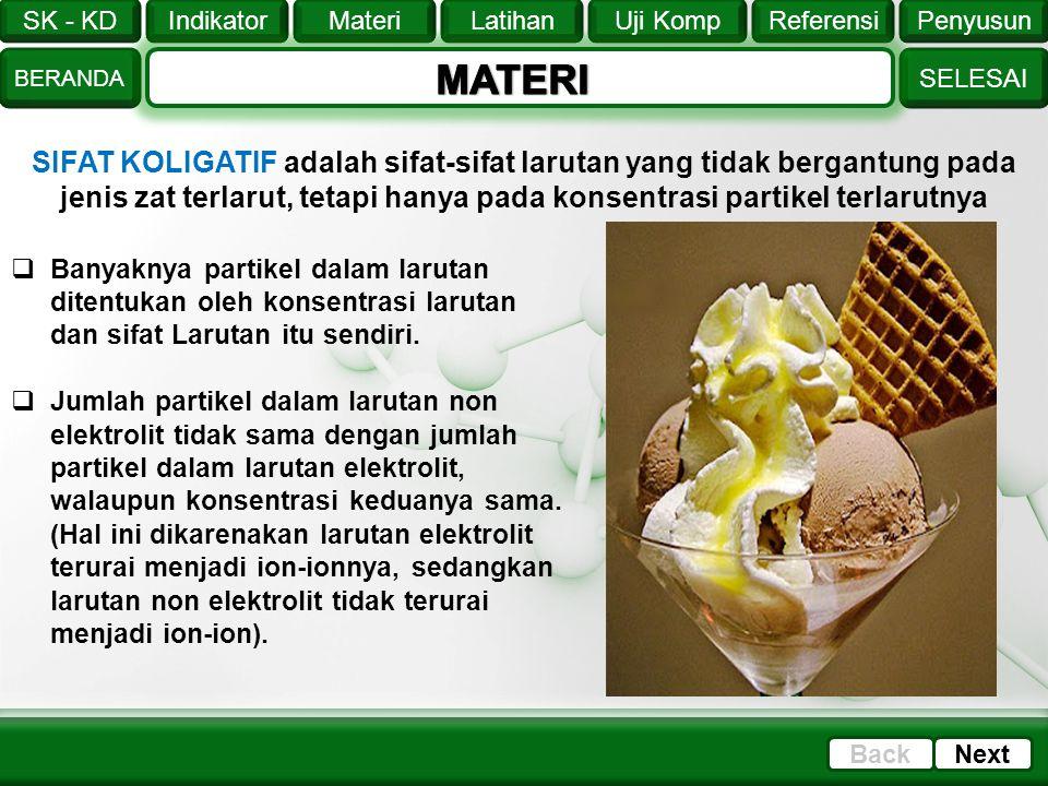 MATERI SIFAT KOLIGATIF adalah sifat-sifat larutan yang tidak bergantung pada jenis zat terlarut, tetapi hanya pada konsentrasi partikel terlarutnya.