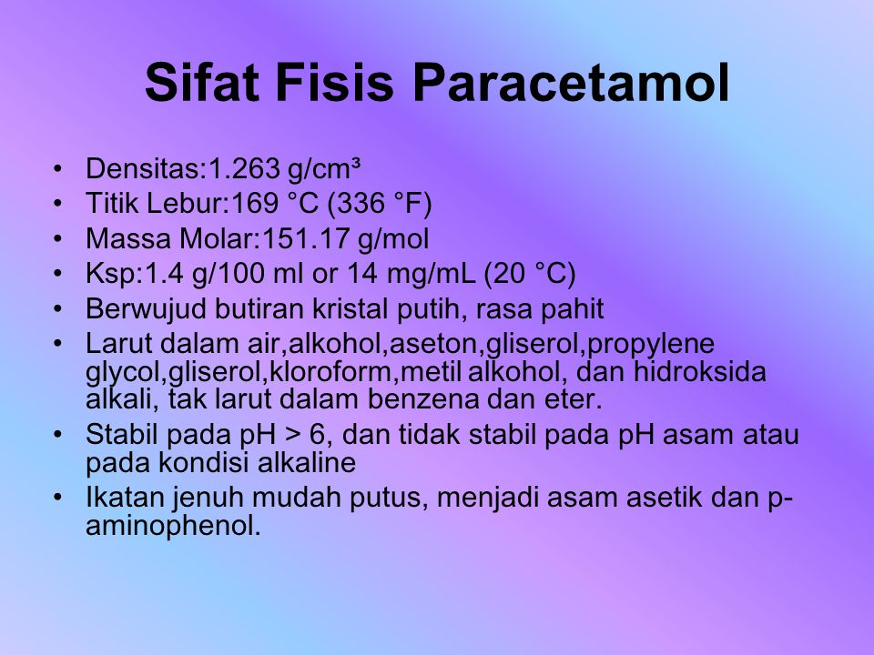 Sifat Fisis Paracetamol