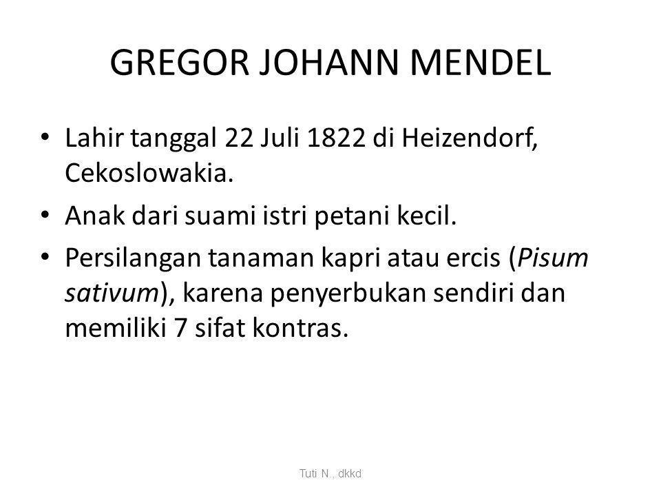 GREGOR JOHANN MENDEL Lahir tanggal 22 Juli 1822 di Heizendorf, Cekoslowakia. Anak dari suami istri petani kecil.