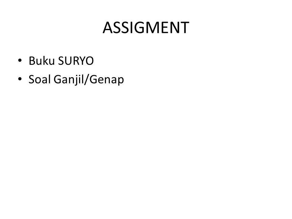 ASSIGMENT Buku SURYO Soal Ganjil/Genap