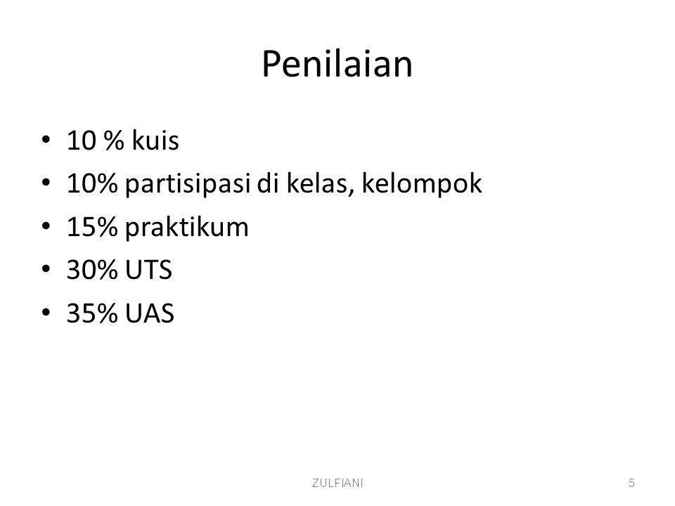 Penilaian 10 % kuis 10% partisipasi di kelas, kelompok 15% praktikum