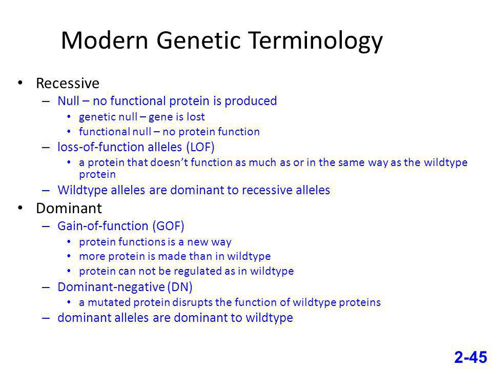 Modern Genetic Terminology