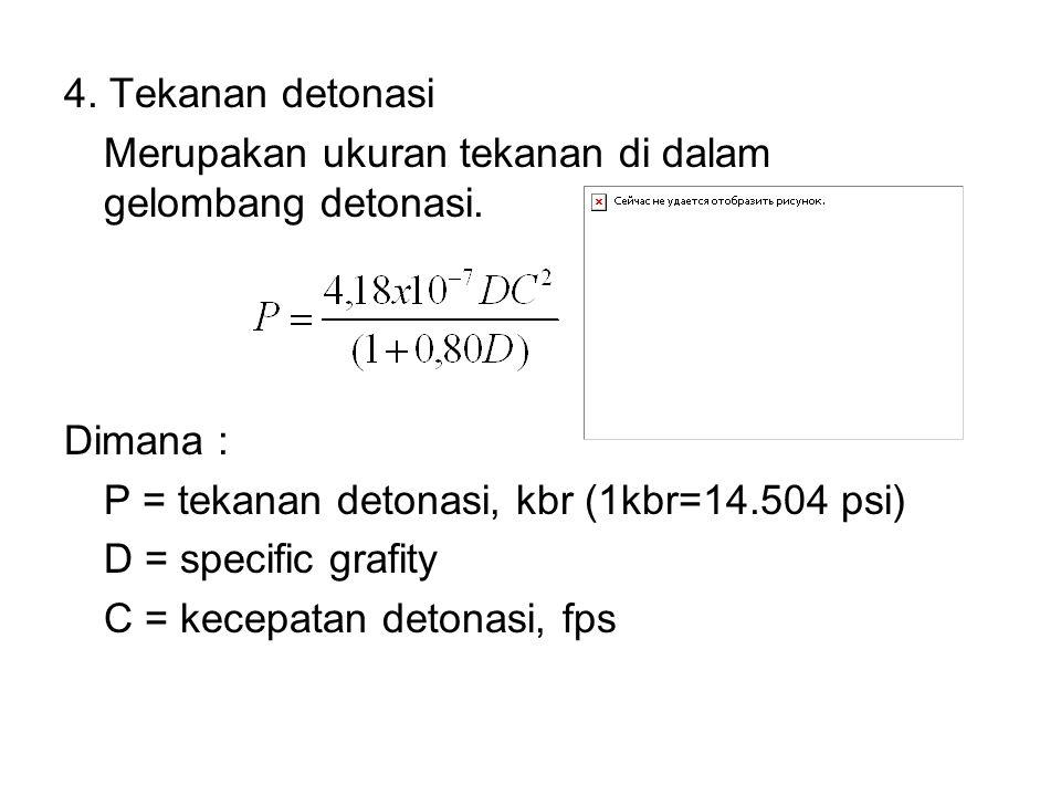 4. Tekanan detonasi Merupakan ukuran tekanan di dalam gelombang detonasi. Dimana : P = tekanan detonasi, kbr (1kbr=14.504 psi)