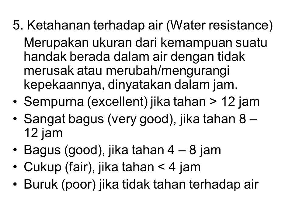 5. Ketahanan terhadap air (Water resistance)