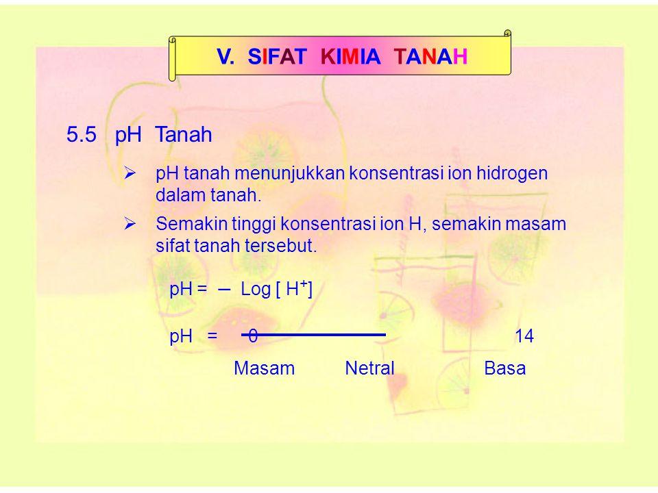 V. SIFAT KIMIA TANAH 5.5 pH Tanah 