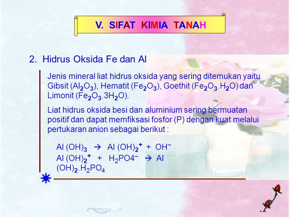 V. SIFAT KIMIA TANAH 2. Hidrus Oksida Fe dan Al