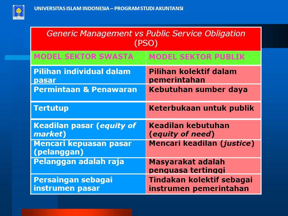 Generic Management vs Public Service Obligation (PSO)