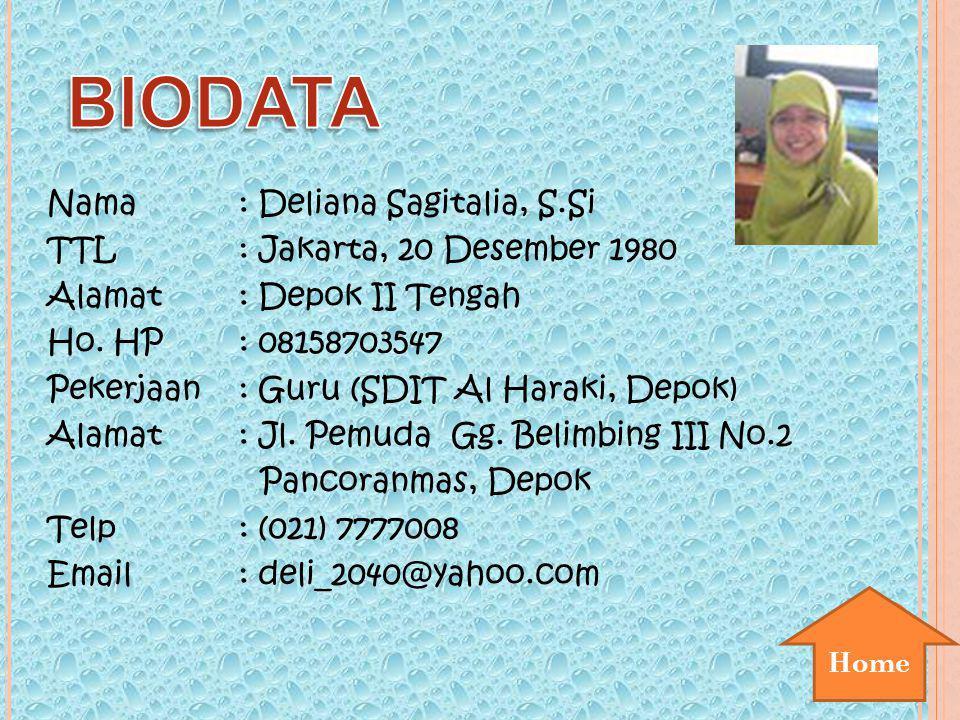 BIODATA Nama : Deliana Sagitalia, S.Si TTL : Jakarta, 20 Desember 1980