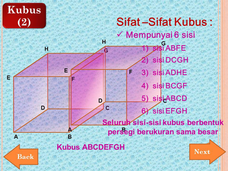 Seluruh sisi-sisi kubus berbentuk persegi berukuran sama besar