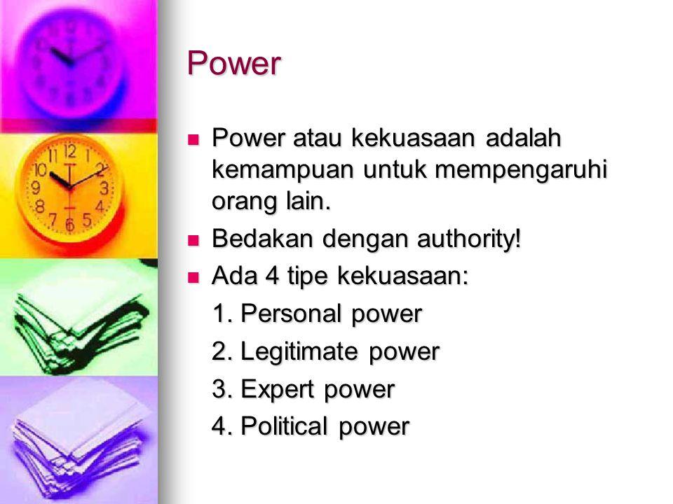 Power Power atau kekuasaan adalah kemampuan untuk mempengaruhi orang lain. Bedakan dengan authority!