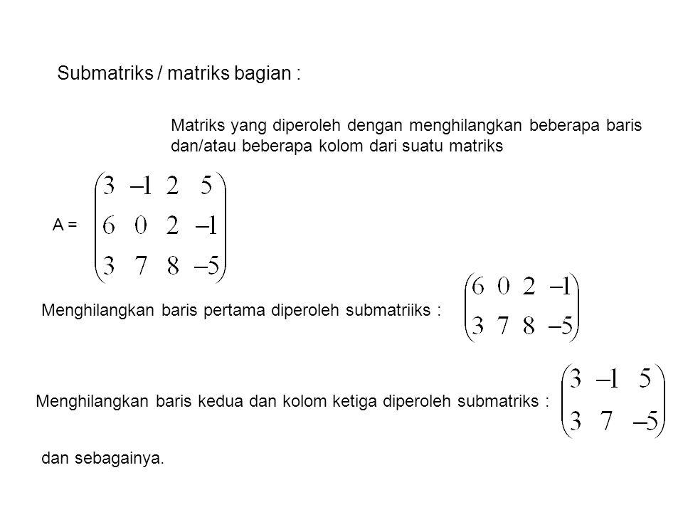 Submatriks / matriks bagian :