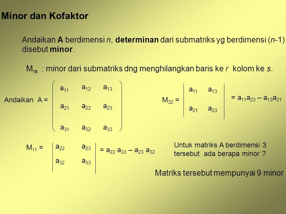 Minor dan Kofaktor Andaikan A berdimensi n, determinan dari submatriks yg berdimensi (n-1) disebut minor.