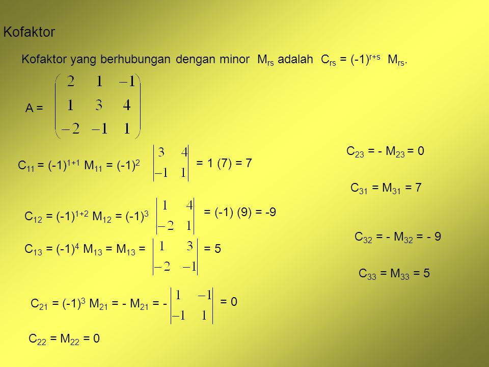 Kofaktor Kofaktor yang berhubungan dengan minor Mrs adalah Crs = (-1)r+s Mrs. A = C23 = - M23 = 0.