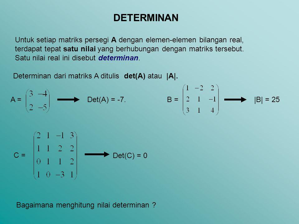 DETERMINAN Untuk setiap matriks persegi A dengan elemen-elemen bilangan real, terdapat tepat satu nilai yang berhubungan dengan matriks tersebut.