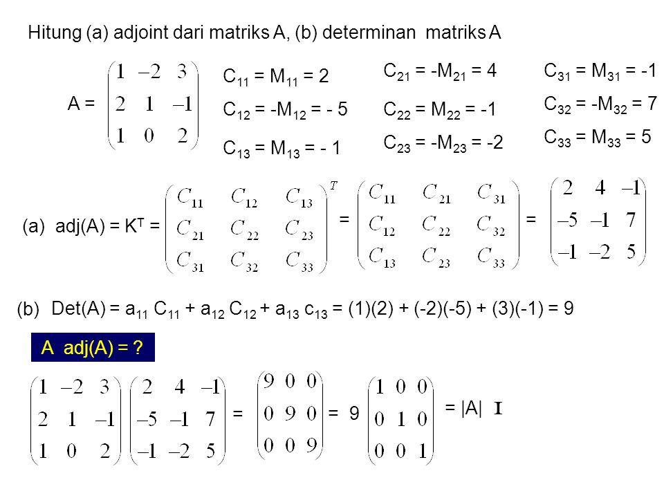 Hitung (a) adjoint dari matriks A, (b) determinan matriks A