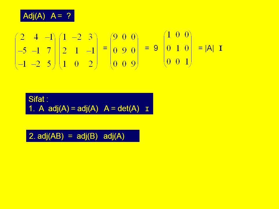 Adj(A) A = . = = 9. = |A| I. Sifat : A adj(A) = adj(A) A = det(A) I.