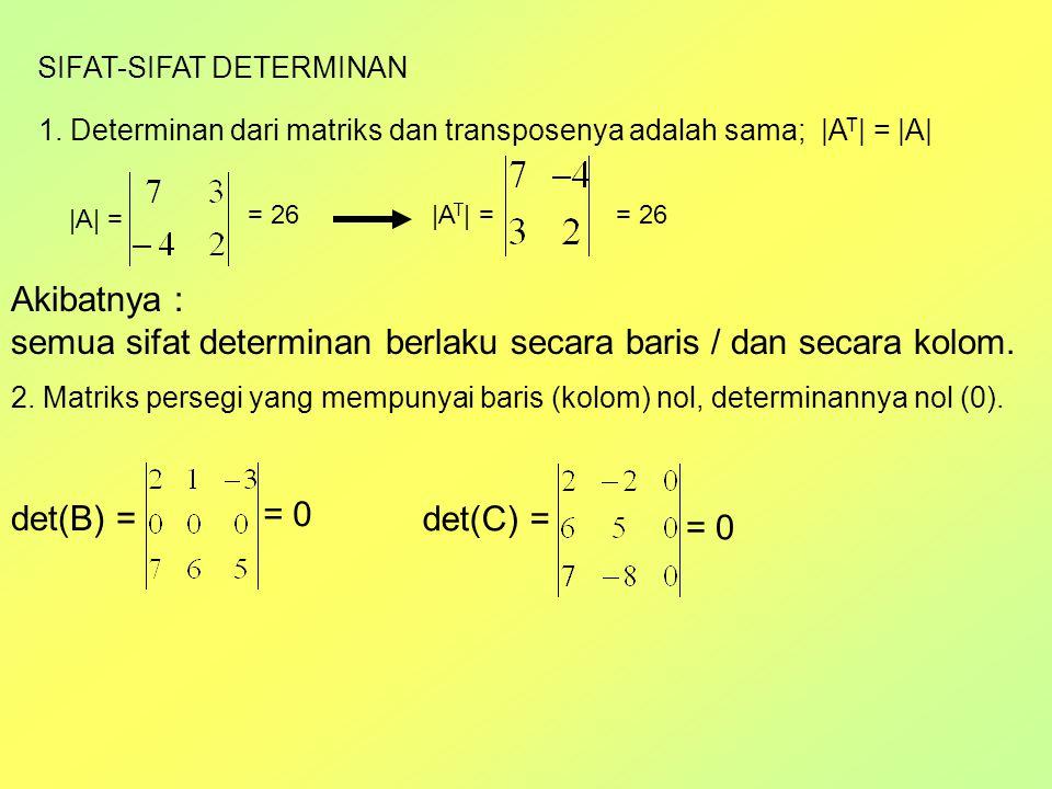 semua sifat determinan berlaku secara baris / dan secara kolom.