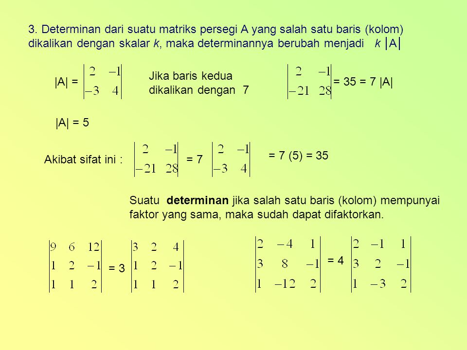 3. Determinan dari suatu matriks persegi A yang salah satu baris (kolom)