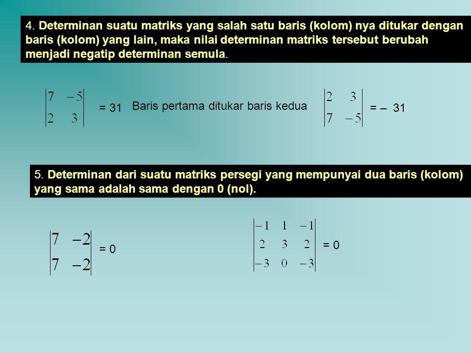 4. Determinan suatu matriks yang salah satu baris (kolom) nya ditukar dengan