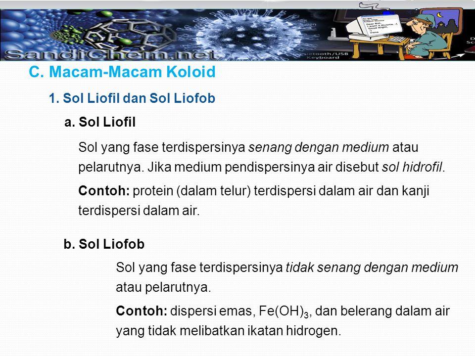 C. Macam-Macam Koloid 1. Sol Liofil dan Sol Liofob a. Sol Liofil