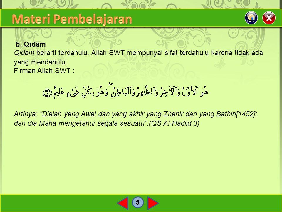 Materi Pembelajaran b. Qidam