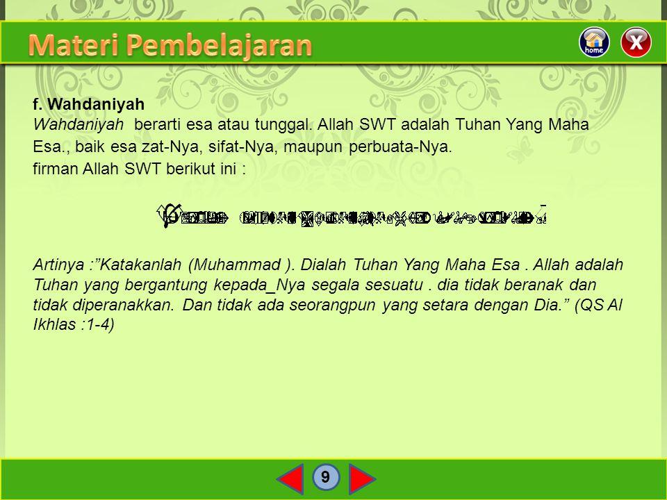 Materi Pembelajaran f. Wahdaniyah