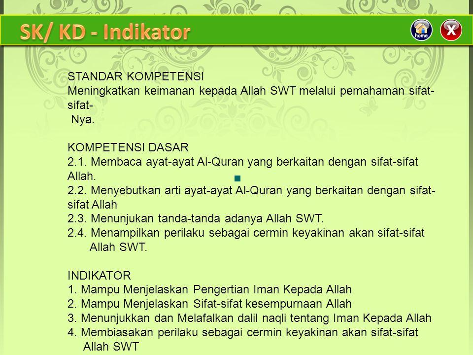 SK/ KD - Indikator STANDAR KOMPETENSI