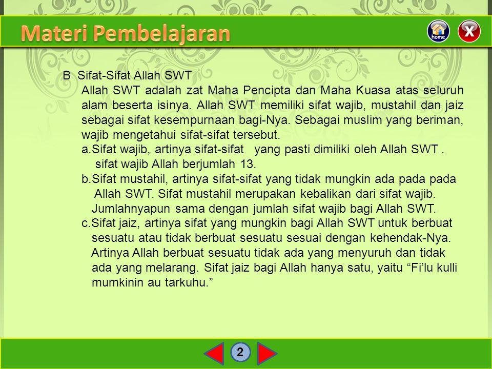 Materi Pembelajaran B Sifat-Sifat Allah SWT