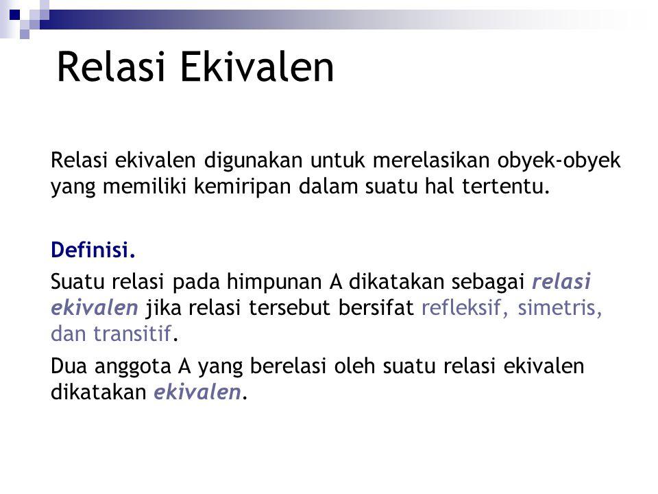 Relasi Ekivalen Relasi ekivalen digunakan untuk merelasikan obyek-obyek yang memiliki kemiripan dalam suatu hal tertentu.