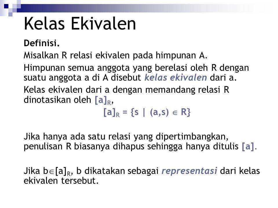Kelas Ekivalen Definisi. Misalkan R relasi ekivalen pada himpunan A.