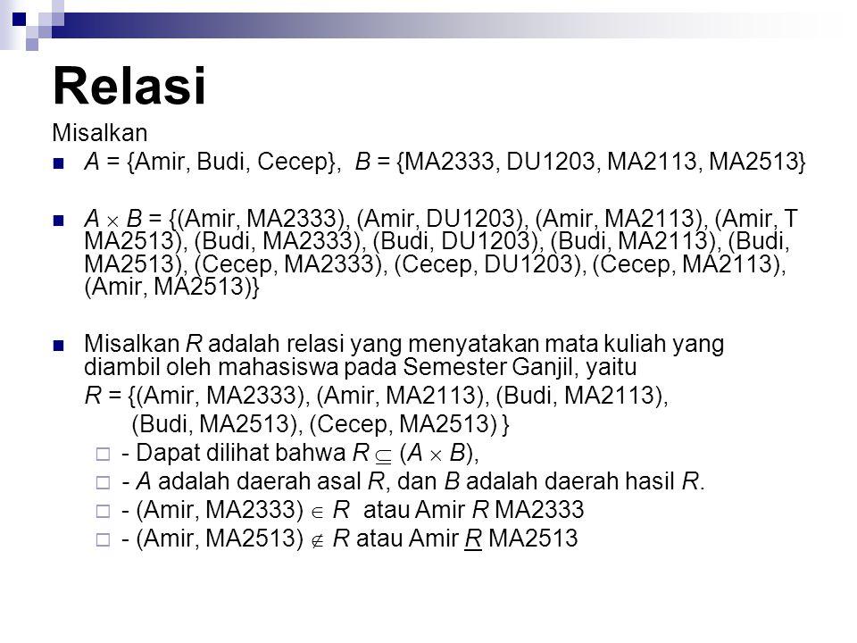 Relasi Misalkan. A = {Amir, Budi, Cecep}, B = {MA2333, DU1203, MA2113, MA2513}