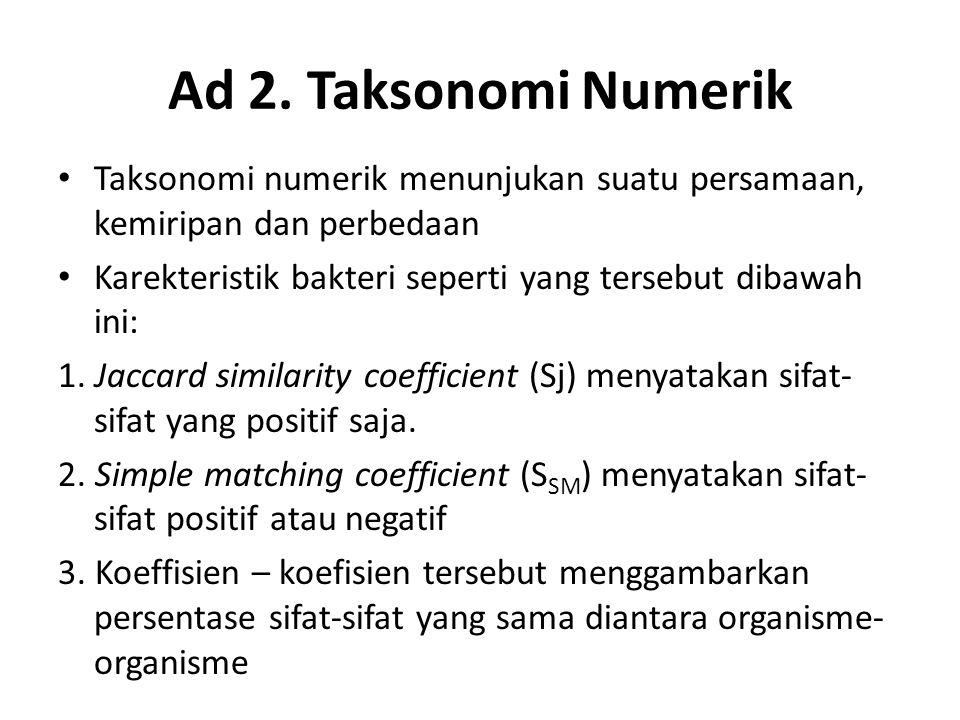 Ad 2. Taksonomi Numerik Taksonomi numerik menunjukan suatu persamaan, kemiripan dan perbedaan.