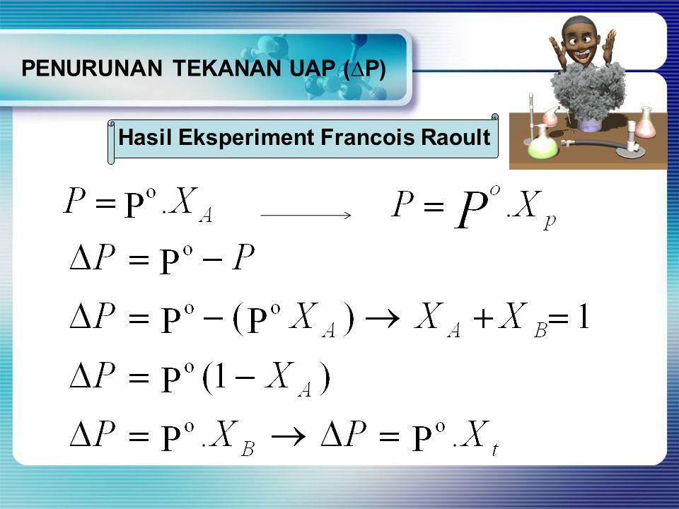 PENURUNAN TEKANAN UAP (∆P) Hasil Eksperiment Francois Raoult