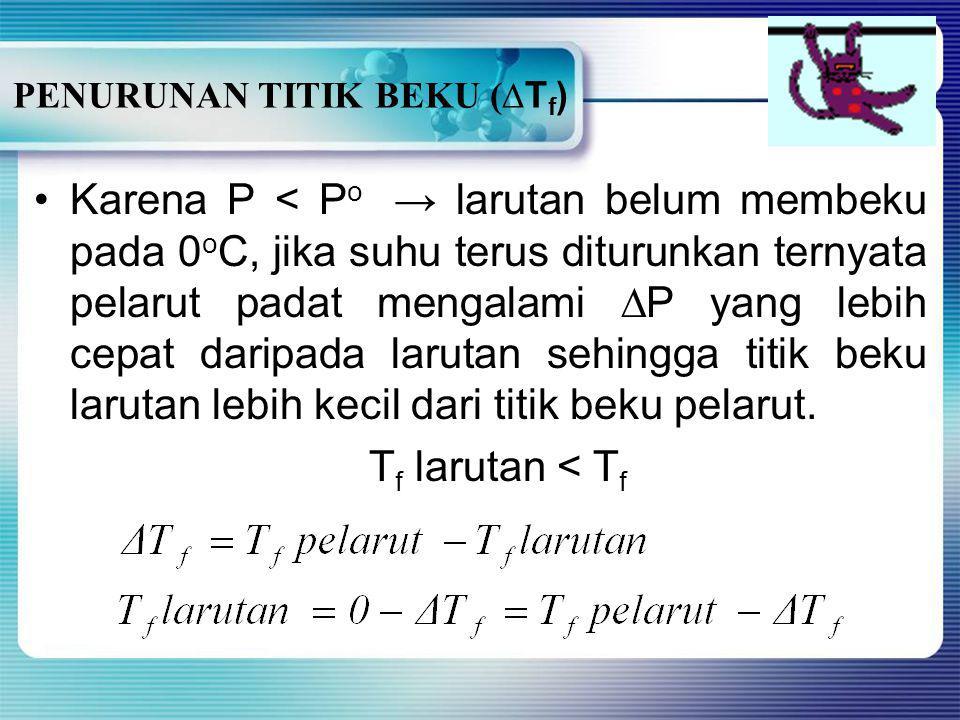 PENURUNAN TITIK BEKU (∆Tf)