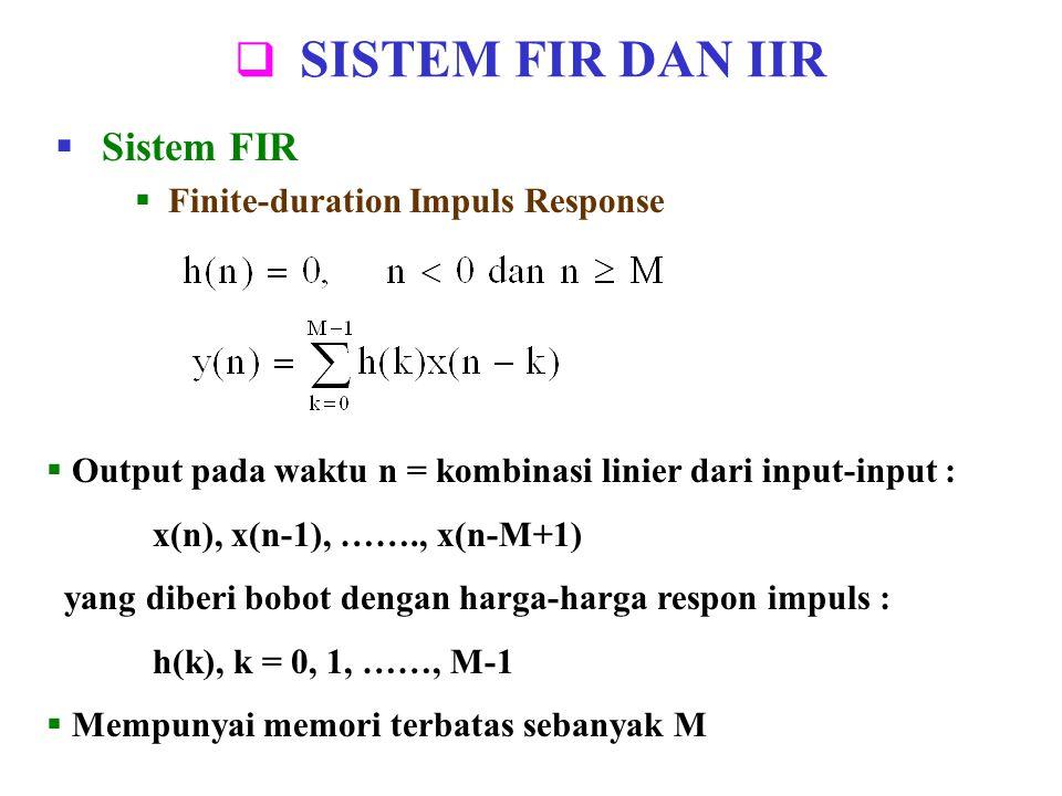 SISTEM FIR DAN IIR Sistem FIR Finite-duration Impuls Response