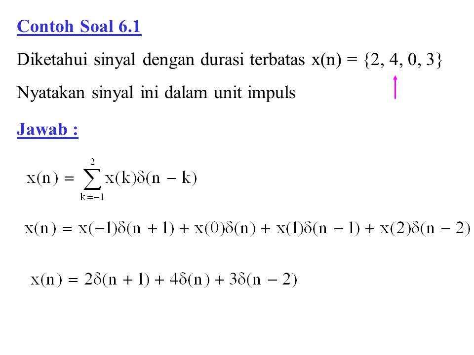 Contoh Soal 6.1 Diketahui sinyal dengan durasi terbatas x(n) = {2, 4, 0, 3} Nyatakan sinyal ini dalam unit impuls.