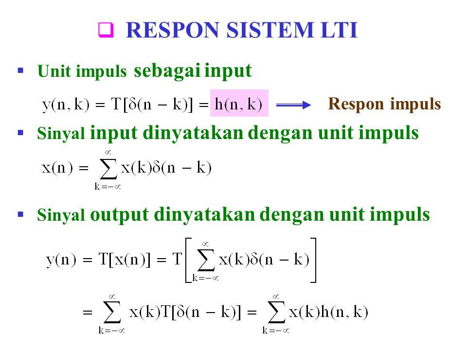 RESPON SISTEM LTI Unit impuls sebagai input Respon impuls