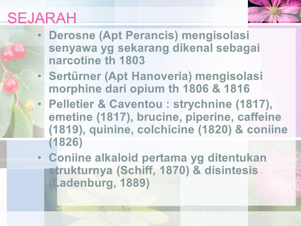 SEJARAH Derosne (Apt Perancis) mengisolasi senyawa yg sekarang dikenal sebagai narcotine th 1803.