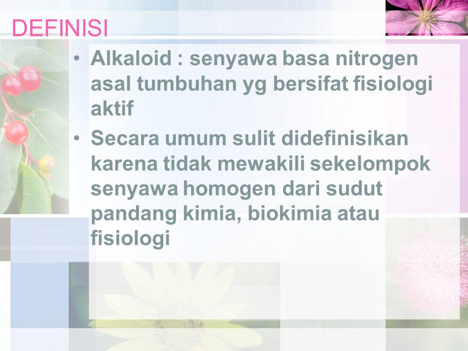 DEFINISI Alkaloid : senyawa basa nitrogen asal tumbuhan yg bersifat fisiologi aktif.