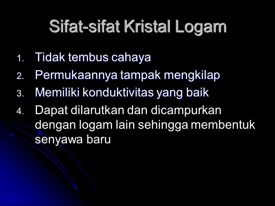 Sifat-sifat Kristal Logam