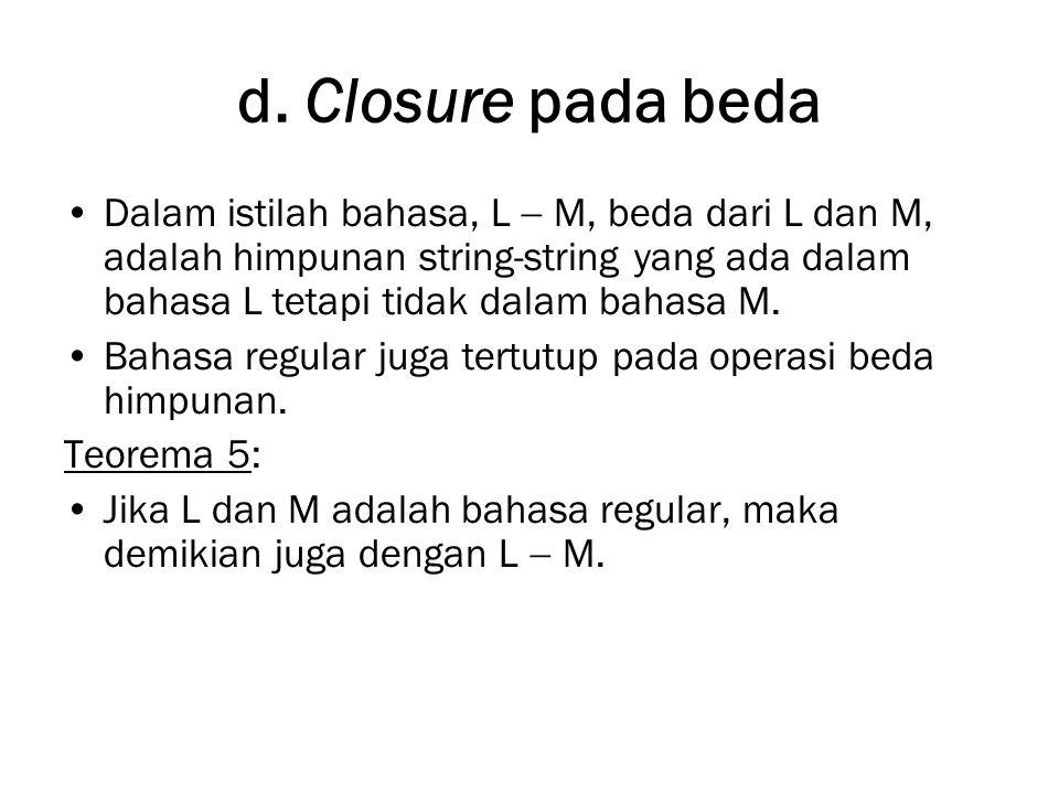 d. Closure pada beda