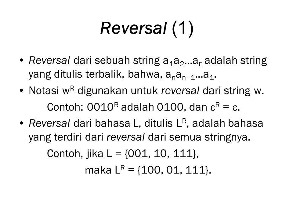 Reversal (1) Reversal dari sebuah string a1a2...an adalah string yang ditulis terbalik, bahwa, anan1...a1.
