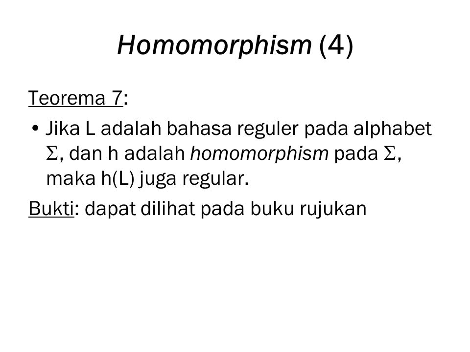 Homomorphism (4) Teorema 7: